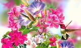 Birds and flowers-art