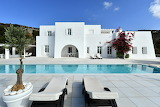 Beautiful modern white Greek villa, terrace and pool in Paros