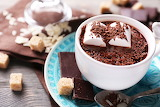 Chocolate, cup, saucer, chocolate, pieces