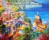 Amalfi Coast Positano Italy Seascape Painting