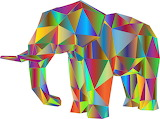 Multi-coloured elephant