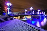 Bridge and river at night