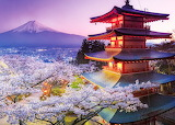 🌸Mount Fuji and Pagoda, Japan...