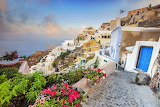 Bougainville-flowers-houses-sea-sunrise-Santorini-Stock-Photos