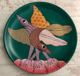 Hand Painted Folk Art Plate