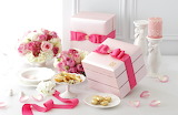Flowers, pink, roses, candle, bouquet, petals, cookies, tape, bo