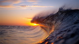 Sea wave at sunset