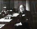 Churchill at a desk