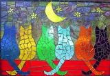 Moonlight mosaic cats