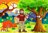 Autumn-forest-trees-woodcutter-man-painting