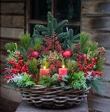 Christmas basket floral arrangement