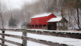 ^ Blue Ridge red barn in the snow