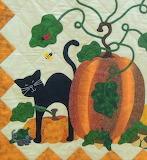 ^ Halloween inspired quilt pumpkin and black cat