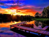 Colorful Sunset River Boat