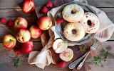 Donuts, sweets, nectarines, raspberries, fruit