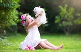 Summer, grass, joy, rabbit, dress, girl, friends, child