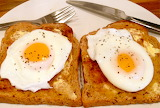 ^ Poached eggs on toast