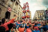 Human tower at rally catalonia spain