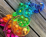 Paper Quilling Rainbow Peacock