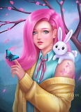 Girl and her bunny by Nindel