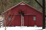 ^ Decorating the red barn for Christmas