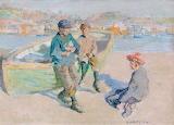 Children in Newlyn Harbour by Harold Harvey 1904