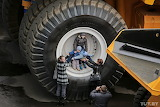 the wheel of the BelAZ truck