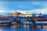 Blue hour waterfront Prague Czech Republic