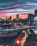 Surreal sunset Boston highways