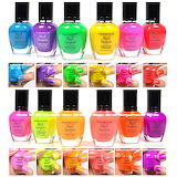 Neon color nail polish colorful