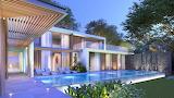 Ultra modern white villa and infinity pool at night