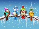 birds in winter-painting