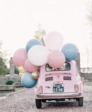 Pink car with balloons
