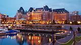 Fairmont Empress Hotel Vancouver Island Canada dusk