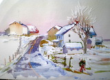 ^ Watercolor Christmas scene