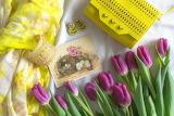Earrings, tulips, bracelet, bag, postcard, scarf, yellow, purple