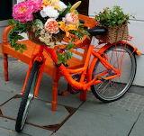 ^ Orange bench, bicycle, flowers