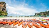 Tropical-beach-Railay-Beach-Thailand-Kayaks-sun-sandy-beach-sea-
