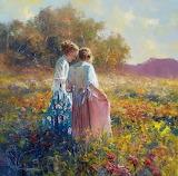 Jeunes filles-campagne fleurie-peinture