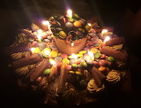 Smarties cake with candles