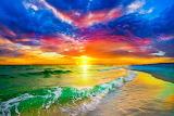 Purple-red-sunset-and-beautiful-ocean-sunset-beach art