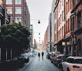 Walking down street Hamburg Germany