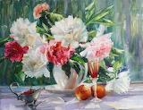 Flowers, nature, beauty, bouquet, petals, strawberry, vase, peac