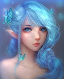 Blue Girl with Butterflies by Ilsetsya
