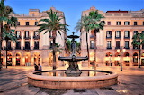 Royal Plaza in the Barri Gòtic of Barcelona Spain
