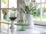 Easter eggs, white pitcher, flowers
