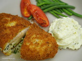 ^ Chicken Kiev, mashed potatoes