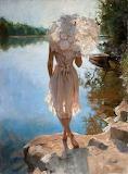 femme à l'ombrelle, bord de rivière.