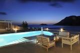 Luxury sea view villa terrace and illuminated pool