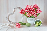 easter flowers and eggs